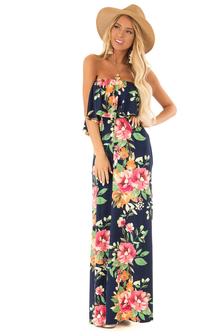 cecd5d9ce378 Navy Floral Print Tube Top Maxi Dress with Ruffle Overlay front full body
