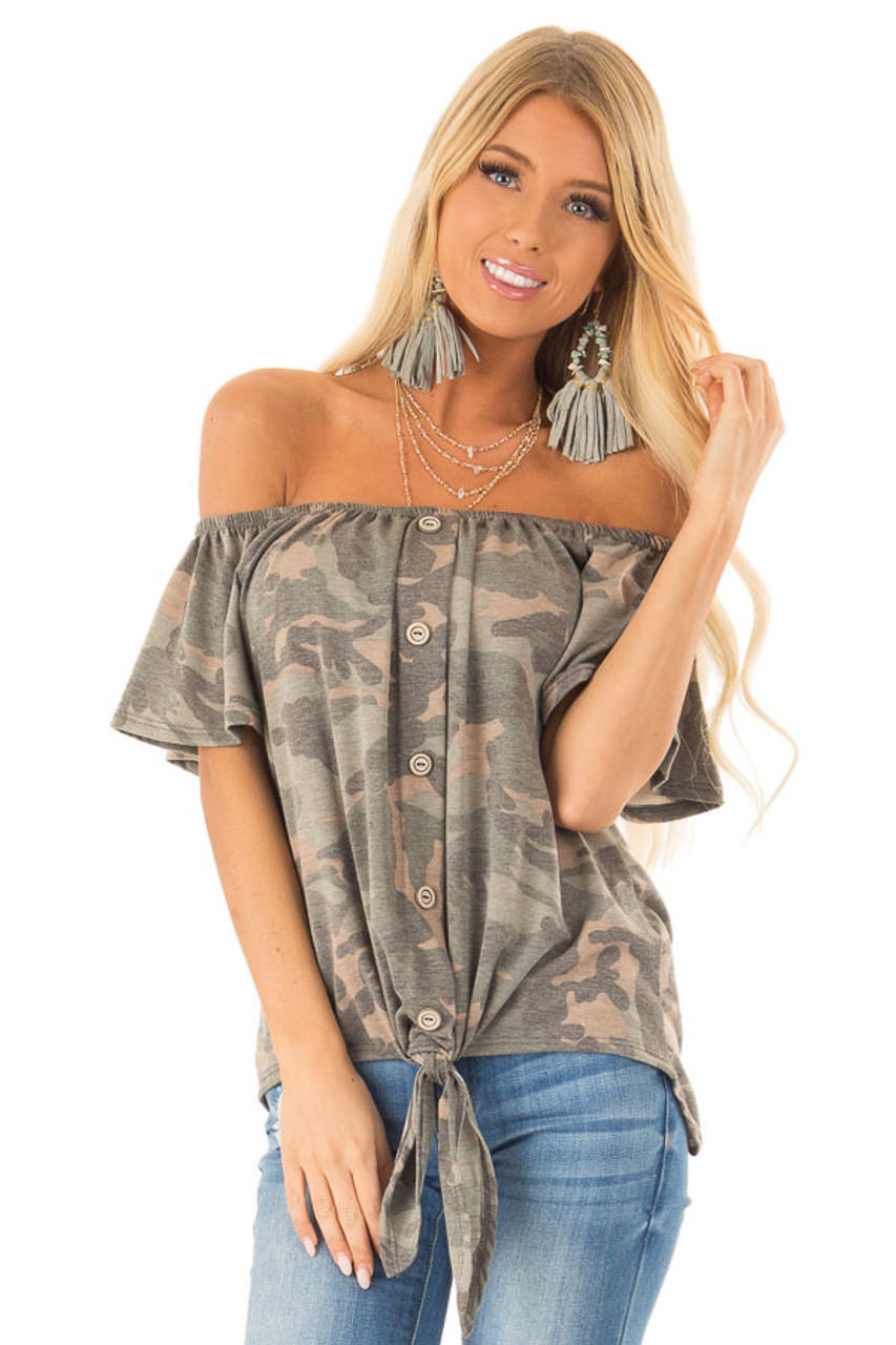 b7bdd2468d81c5 Army Green Camo Print Off Shoulder Top with Front Tie - Lime Lush ...