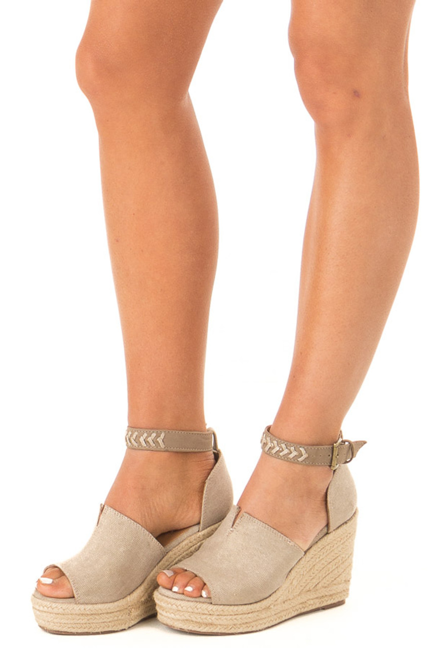 408ca069fd4 Taupe Open Toed Espadrille Wedge with Ankle Strap