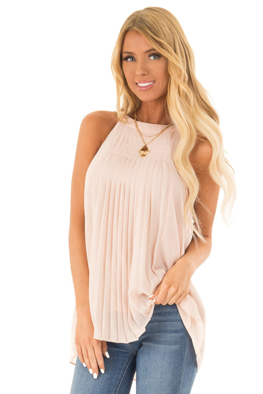 00a6b93833ea14 Nude High Neck Pleated Tank Top - Lime Lush Boutique