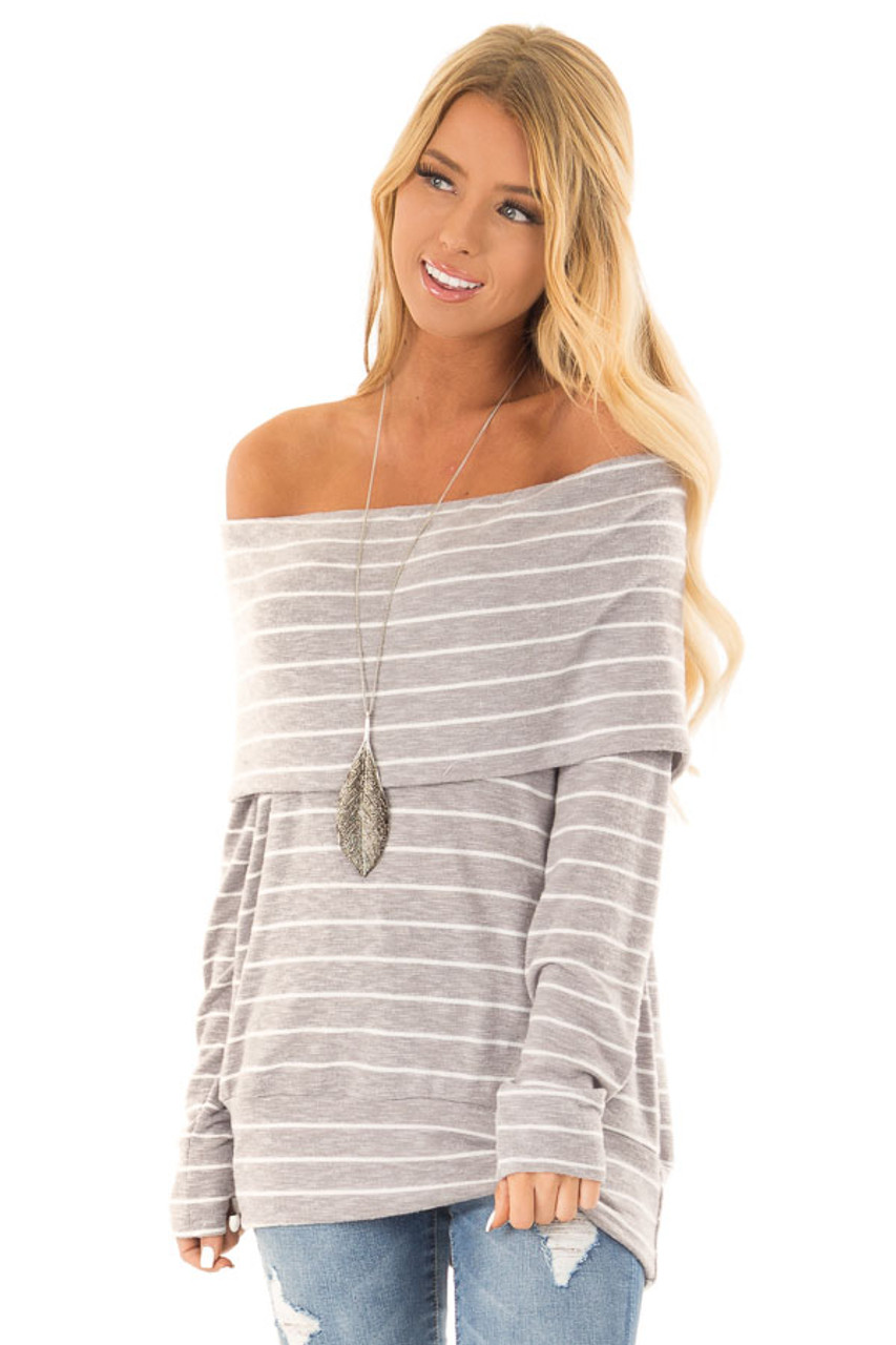 9979b3d34a3 Heather Grey Striped Off Shoulder Long Sleeve Bandeau Top front close up
