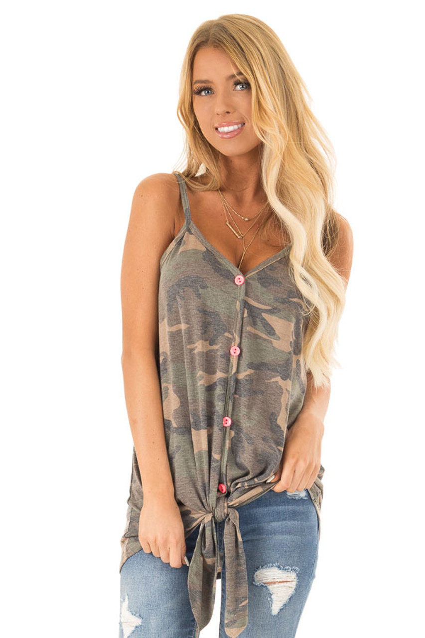 241ad2bb Olive Camo Print Tank Top With Hot Pink Button Up Detail - Lime Lush ...