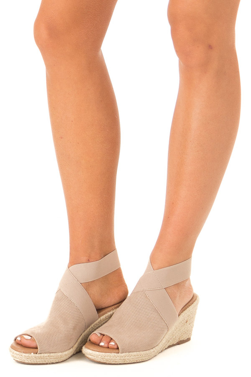 f6a143d99e0 Taupe Textured Open Toe Espadrille Wedge Sandal