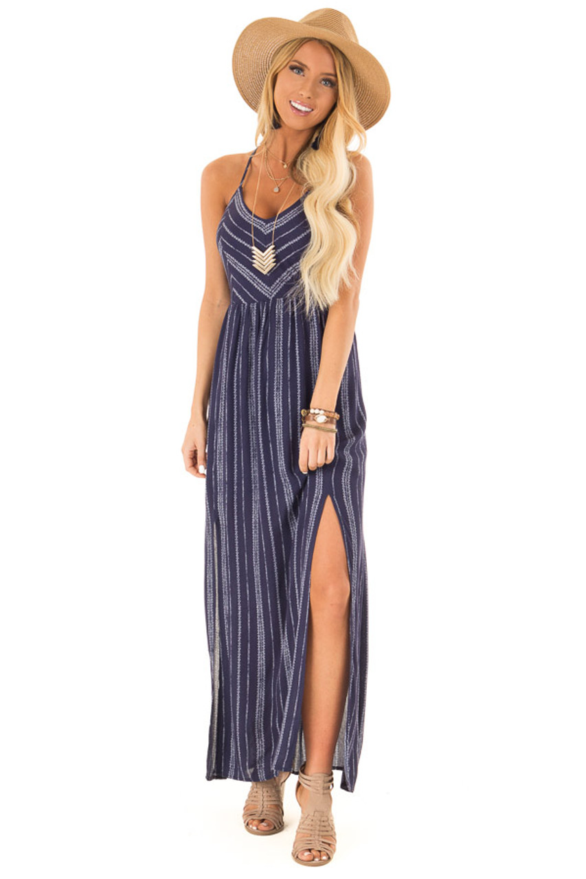 9cc143527fdb Navy and White Striped Dress with Open Back and Side Slits front full body
