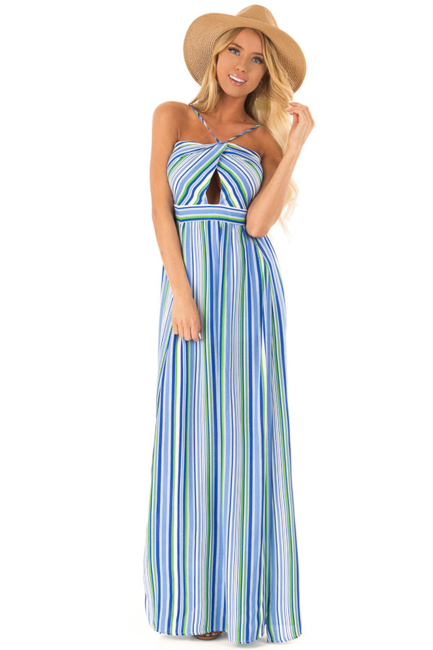 1b7dd2dc424 Azure Striped Strappy Backless Maxi Dress with Chest Cutout front full body