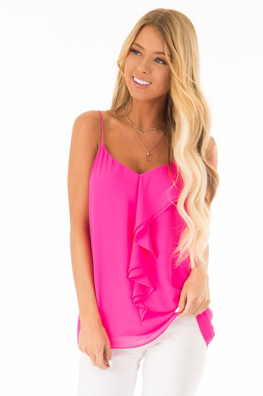 dd4099e9c4 Hot Pink V Neck Tank Top with Ruffle Details - Lime Lush Boutique