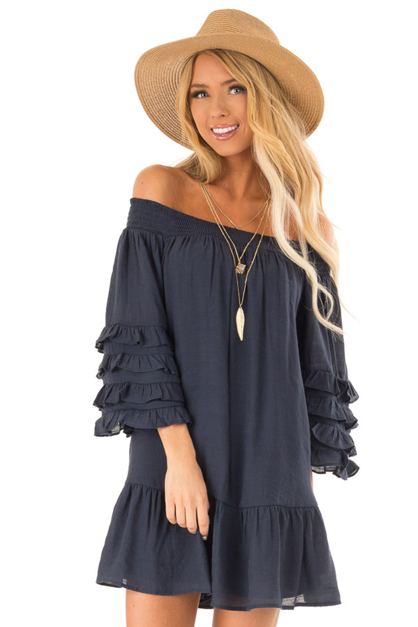 2bb410a6f0 Navy Off the Shoulder Mini Dress with Tiered Ruffle Sleeves