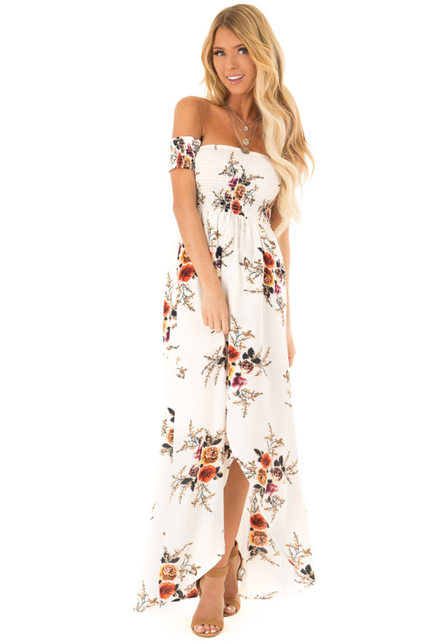 21339d90740 Ivory and Floral Print Off Shoulder Smocked Maxi Dress front full body