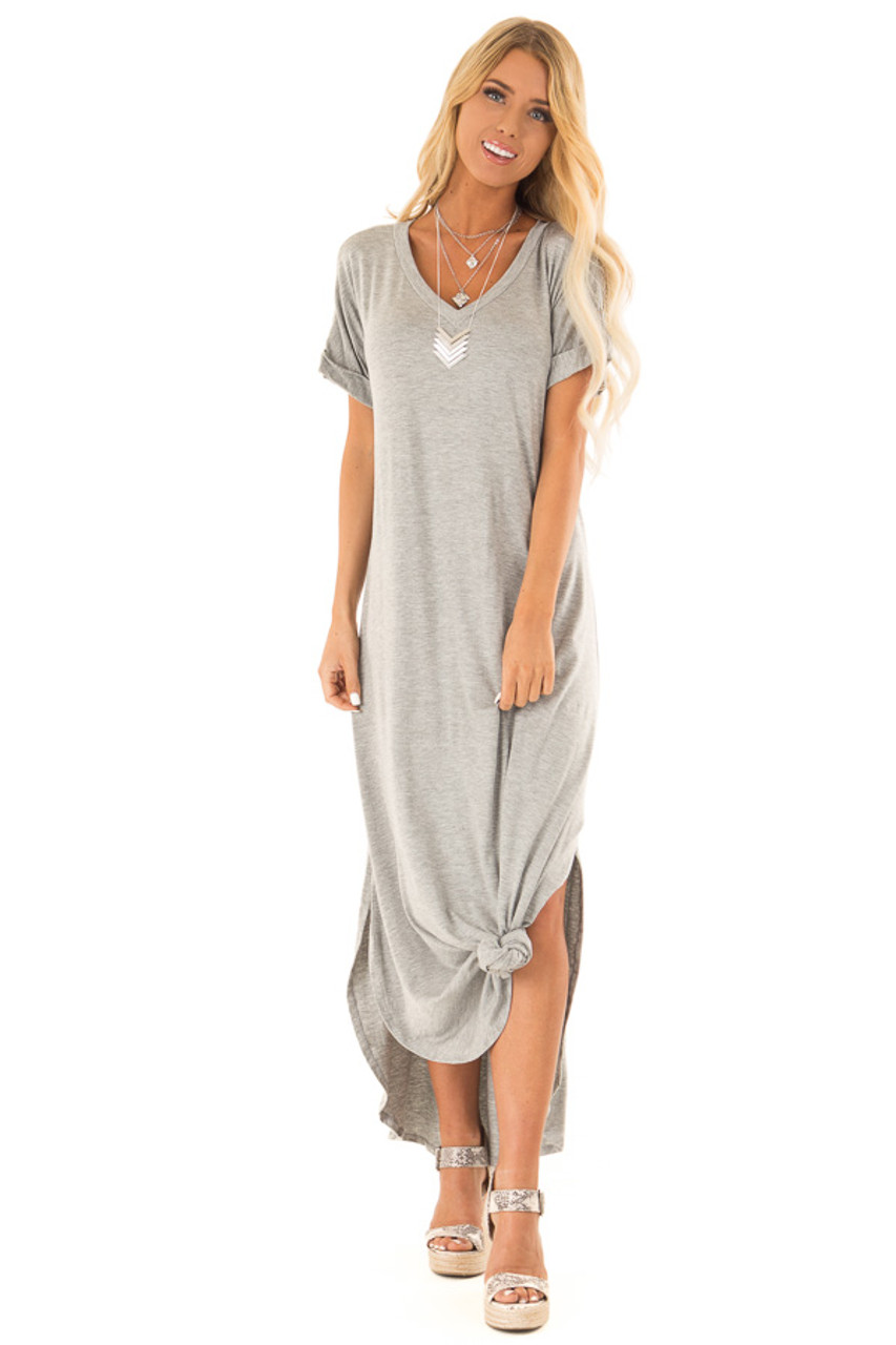 4a14e999091de Heather Grey V Neck T Shirt Knit Maxi Dress with Side Slits