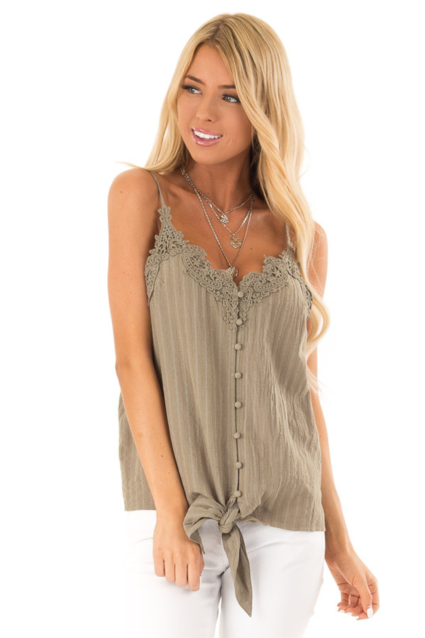 3e744d7b99518b Olive Button Up Tank Top with Front Tie and Lace Trim - Lime Lush ...