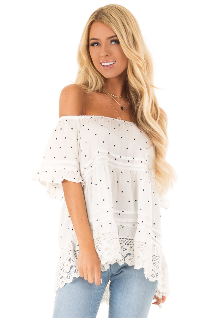 e3dfcb4a036 Off White Polka Dot Off Shoulder Top with Crochet Lace Trim front close up