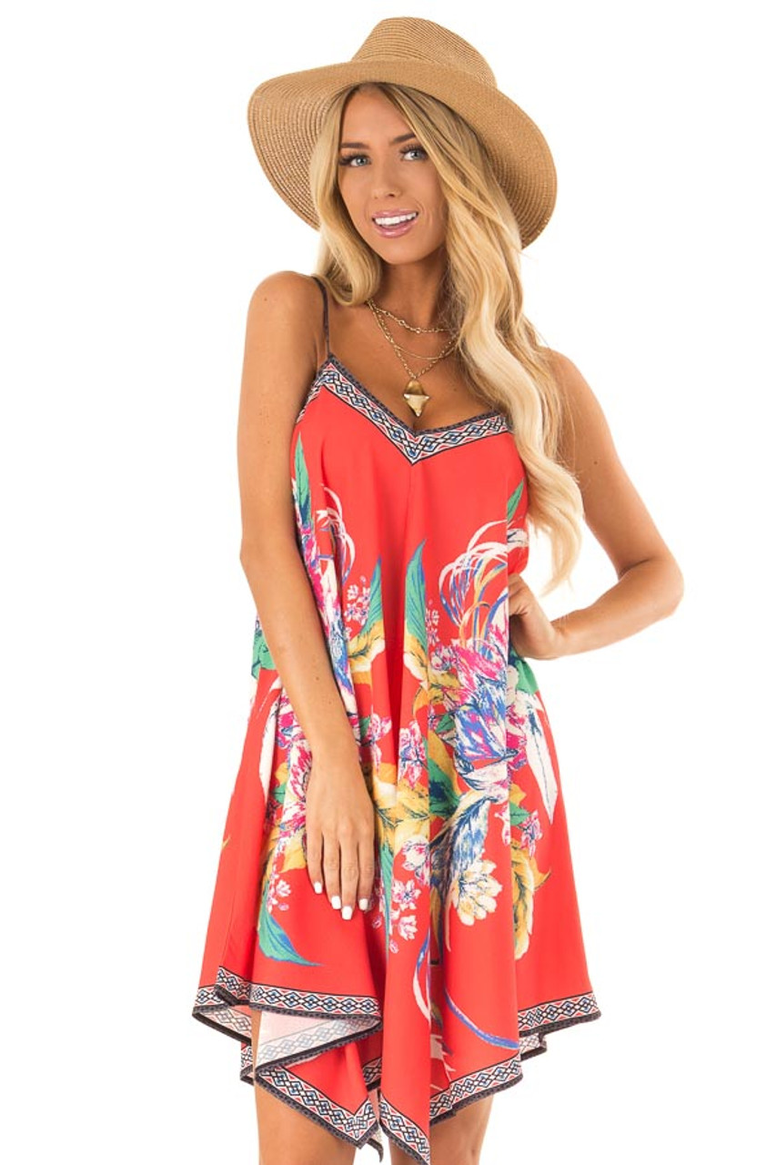 7822306fb82d4 Candy Red Flowy Dress with Tropical Print