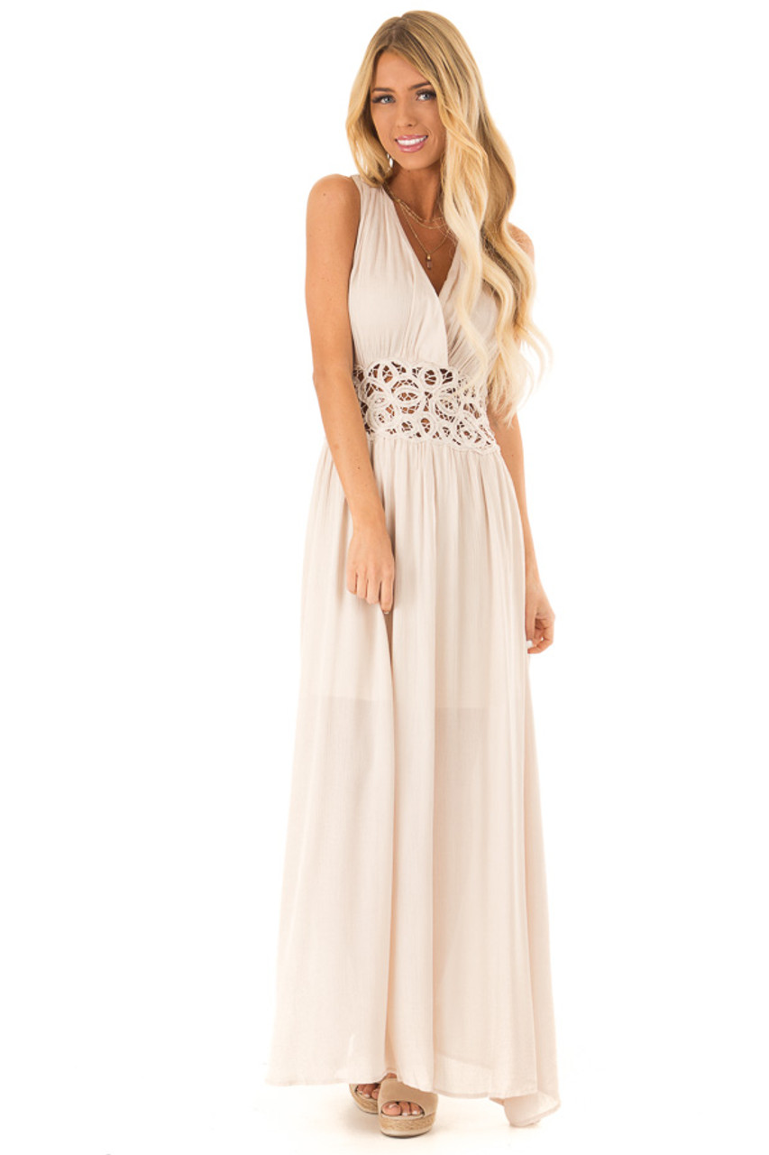 d9ce20ddc9f Light Sand Maxi Dress With Crochet Lace Detail - Lime Lush Boutique