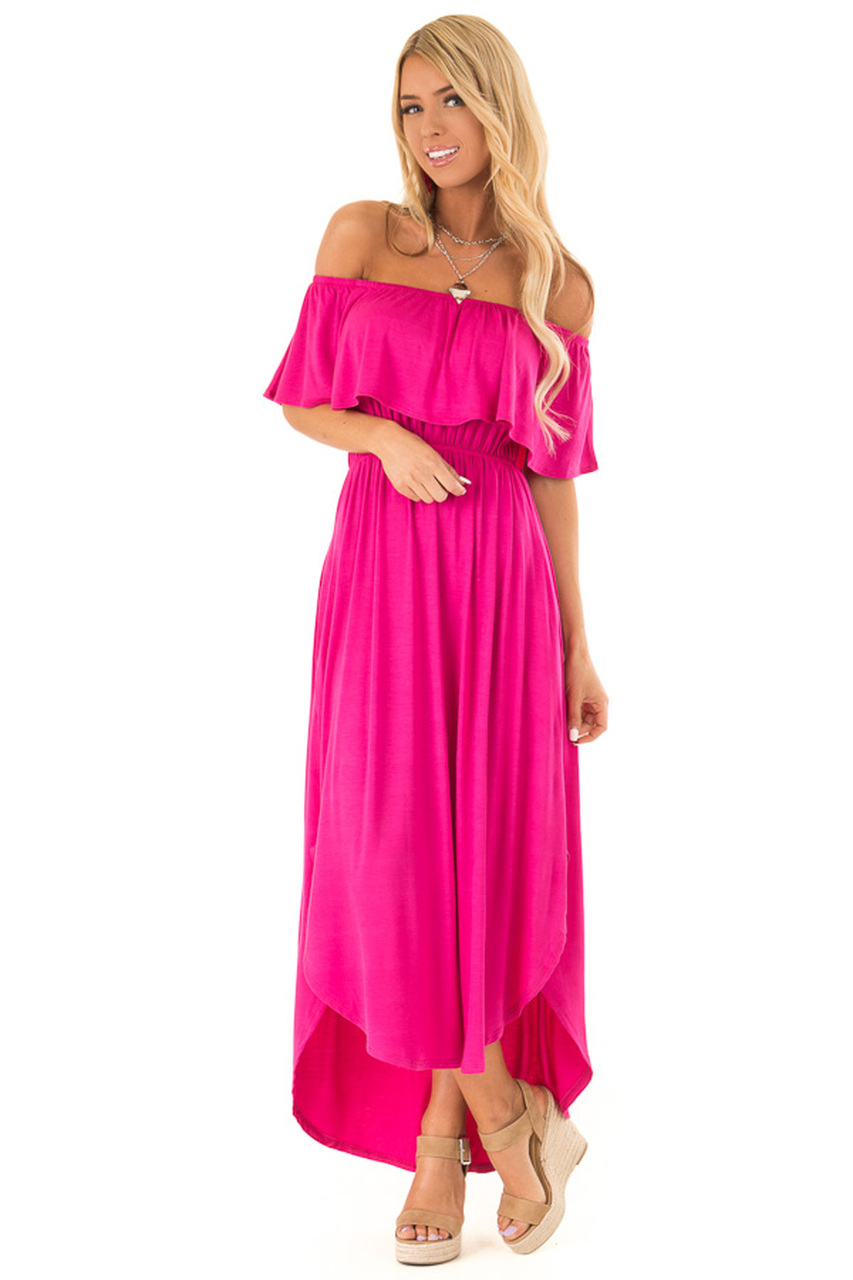 bcbffdc7980 Magenta Off the Shoulder Midi Dress with Ruffle Overlay front full body