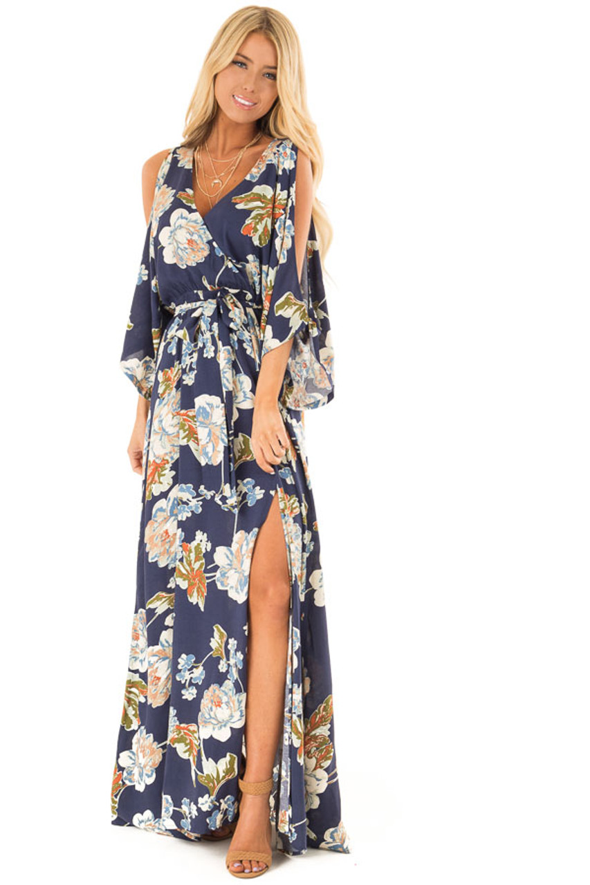 6679d094285 Navy Floral Print Cold Shoulder Maxi Dress with Slit front full body