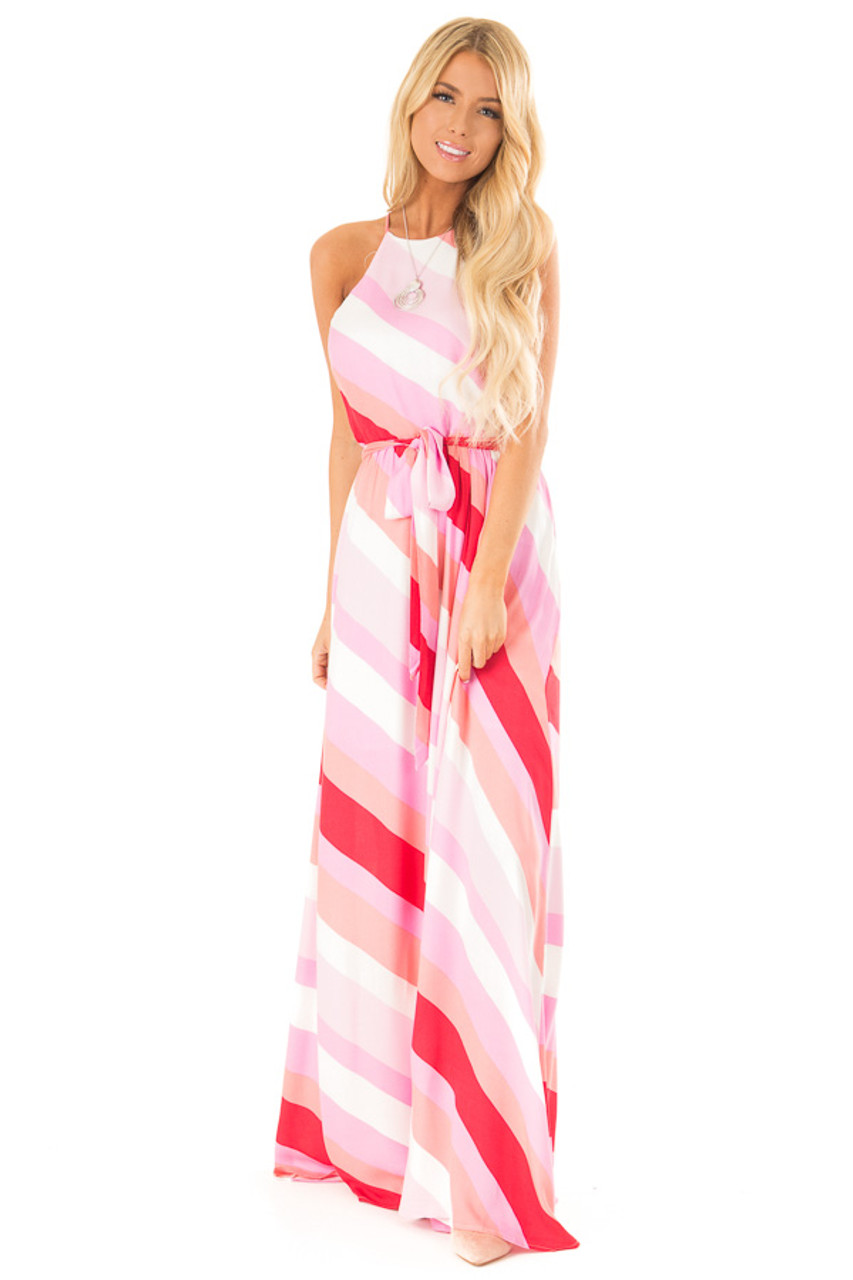 bc48ff7437de6 Flamingo Pink Striped Maxi Dress with Front Tie Detail