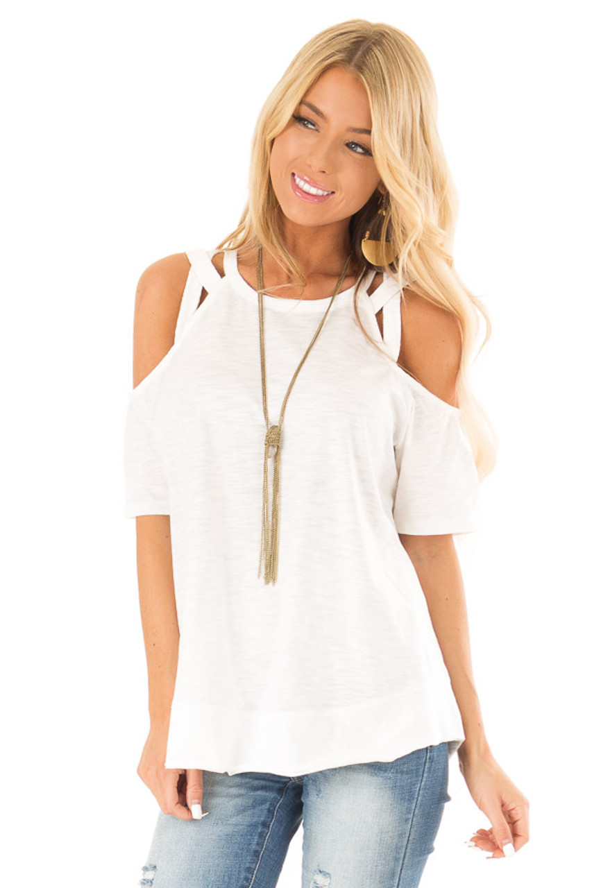 c32d10368ec Porcelain Short Sleeve Top with Criss Cross Cold Shoulders front close up