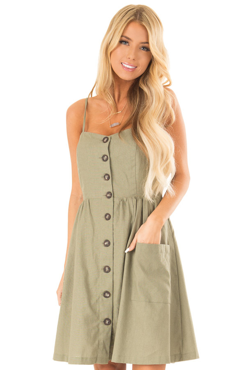b7e3eb9161044 Olive Spaghetti Strap Button Up Dress with Front Pockets