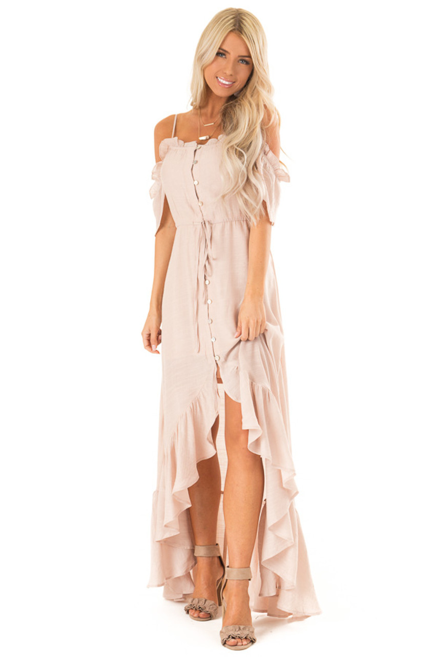 f004cedc018c Blush Off the Shoulder High Low Ruffle Maxi Dress - Lime Lush Boutique