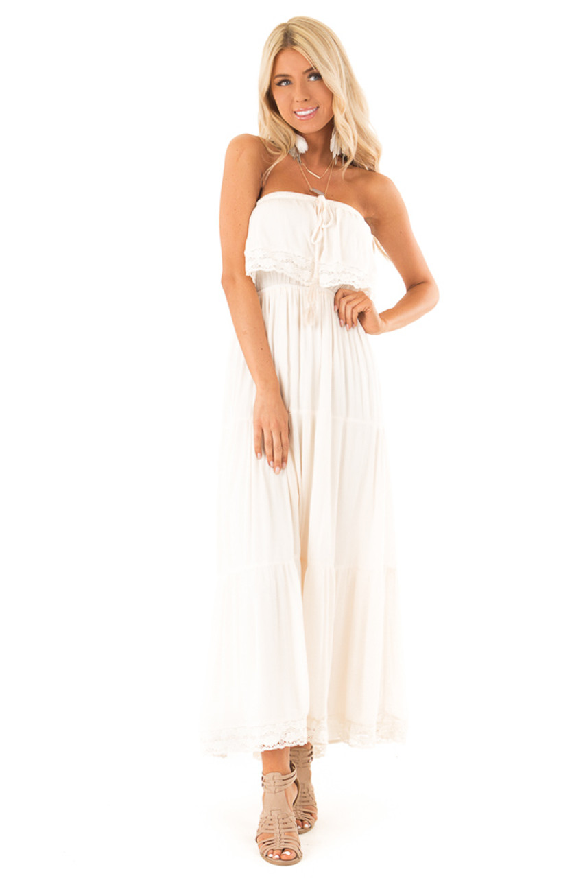 d27c80a2511 Ecru Strapless Maxi Dress with Overlay and Crochet Details front full body