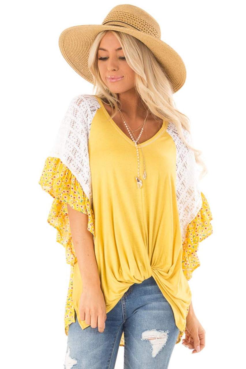 f88cdd5a954678 Sunshine Yellow Floral Print Top with Sheer Lace Details - Lime Lush ...