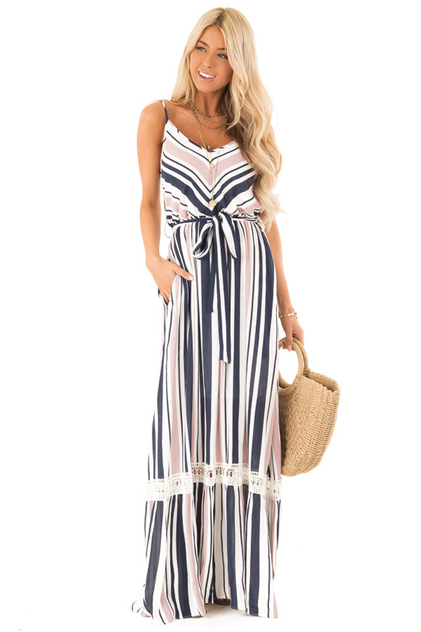 a4505d880c Blush and Navy Striped Spaghetti Strap Maxi Dress with Tie