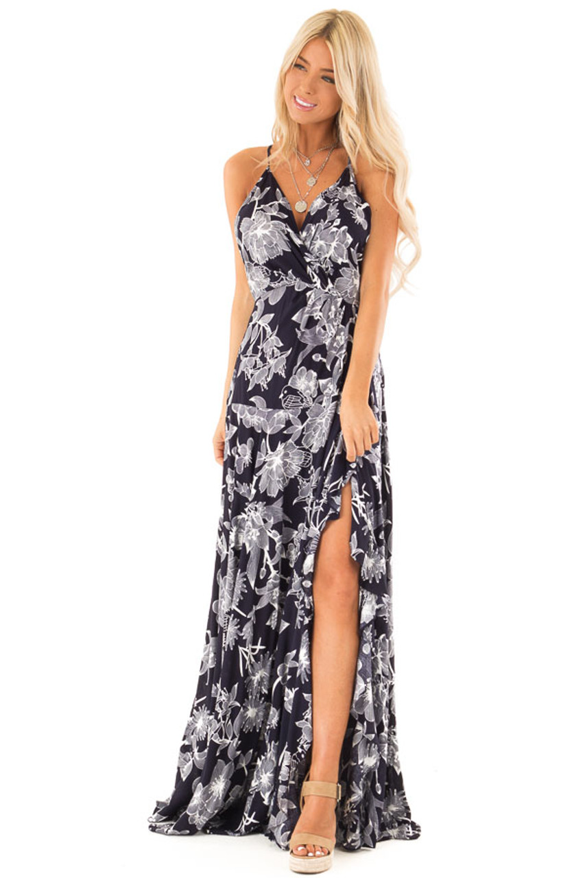 5b934c8c51e4 Midnight Navy and Off White Floral Print Maxi Dress - Lime Lush Boutique