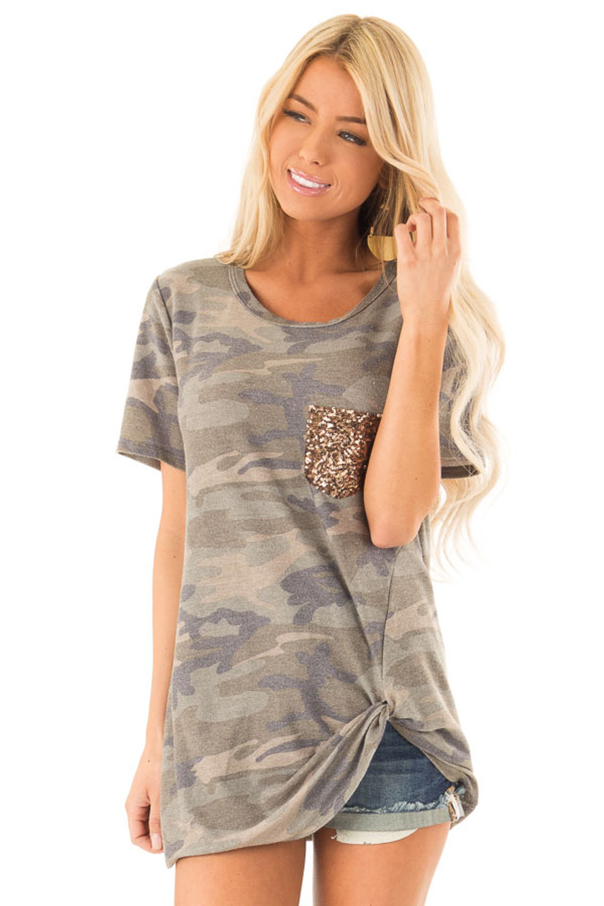4cd760fe5 Olive Camo Top with Gold Sequin Pocket and Front Twist Knot front close up
