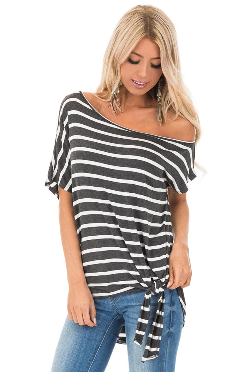 a784dc93b79 Charcoal and Ivory Striped Off the Shoulder Top with Front Tie front close  up