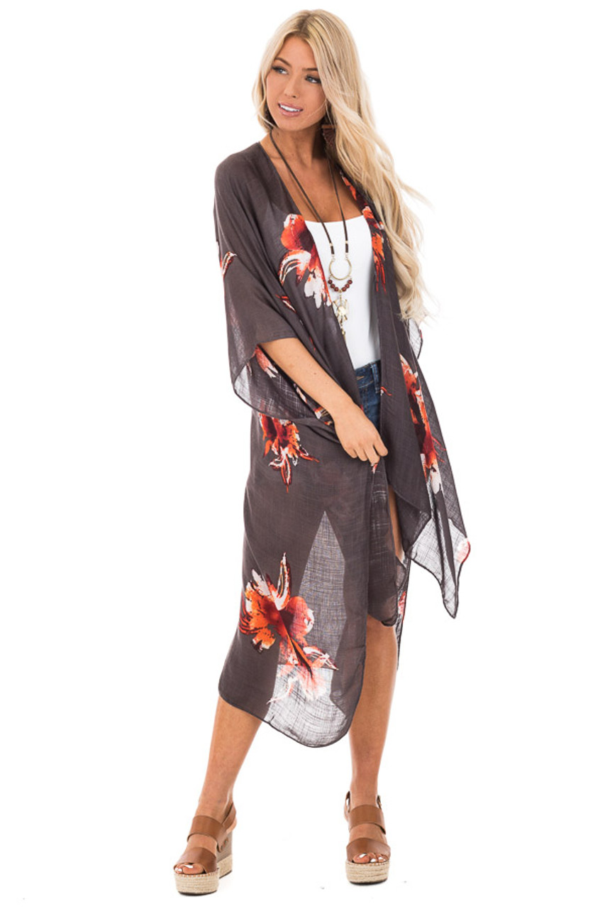 8691718eeeacc Charcoal and Burnt Orange Floral Print Long Linen Kimono - Lime Lush ...