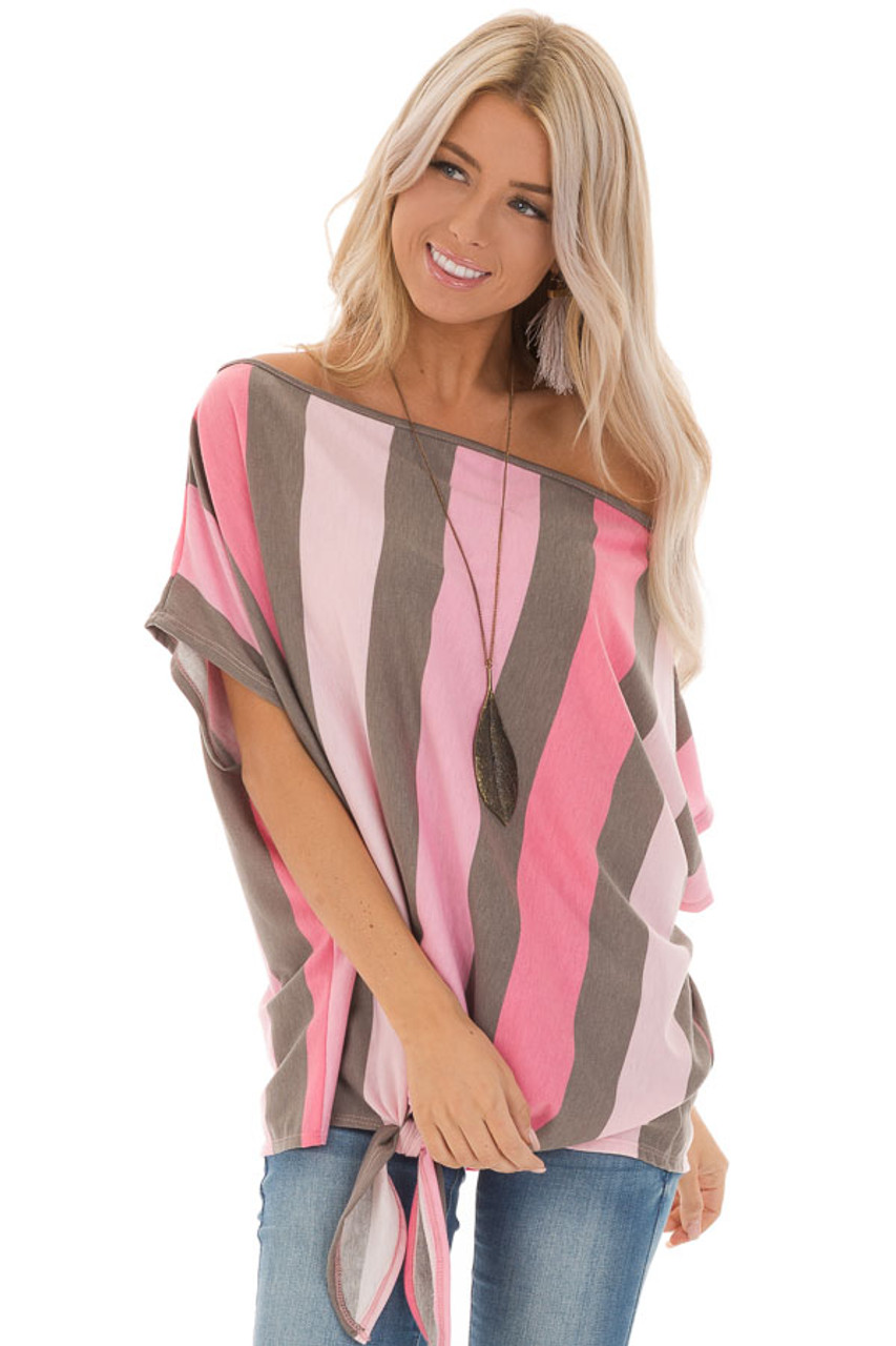 dcb9edf7928 Bubblegum Pink Striped Off the Shoulder Top with Front Tie front close up