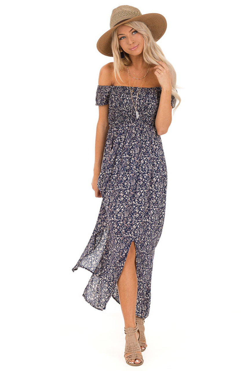7ab93eb02 Navy Blue Floral Print Smocked Off the Shoulder Maxi Dress front full body