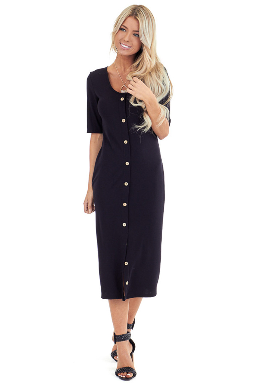 2a7bdc039ba40 Ink Black Ribbed Knit Midi Dress with Button Up Detail