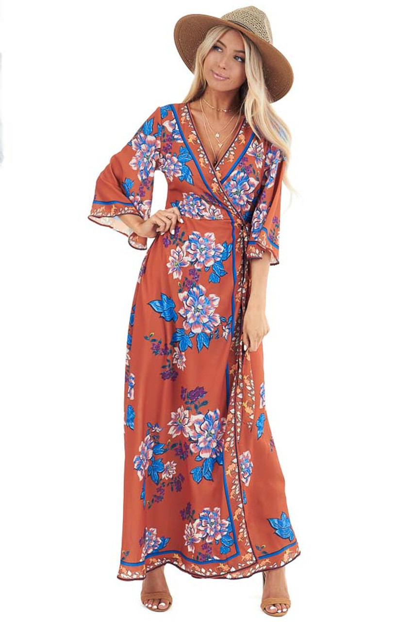 8fa8128b2ea53 Rust Orange Floral Print V Neck Half Sleeve Wrap Maxi Dress - Lime ...