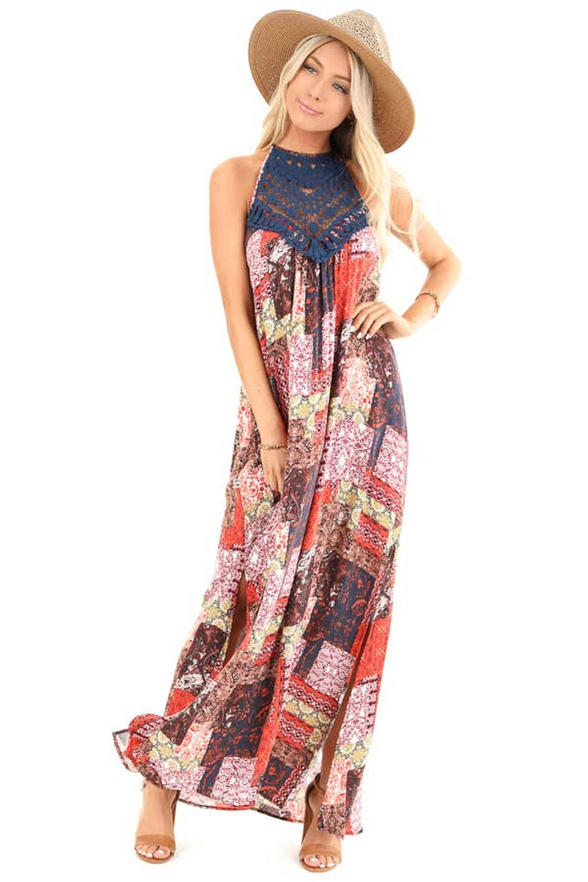 100% top quality amazing price delicate colors Tangerine and Navy Multi Print Halter Top Maxi Dress - Lime Lush ...