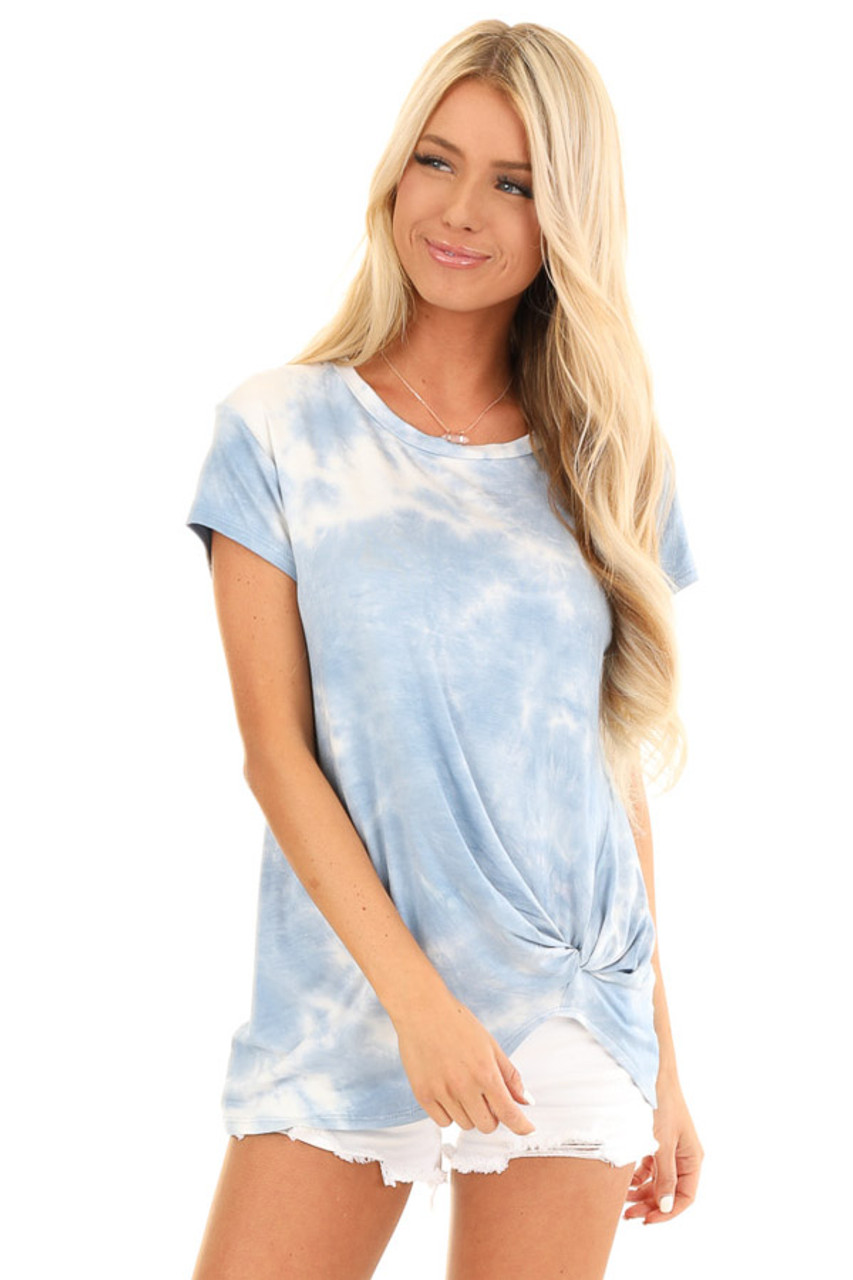 38384a9f Blue Skies Tie Dye Short Sleeve Top with Front Twist - Lime Lush ...