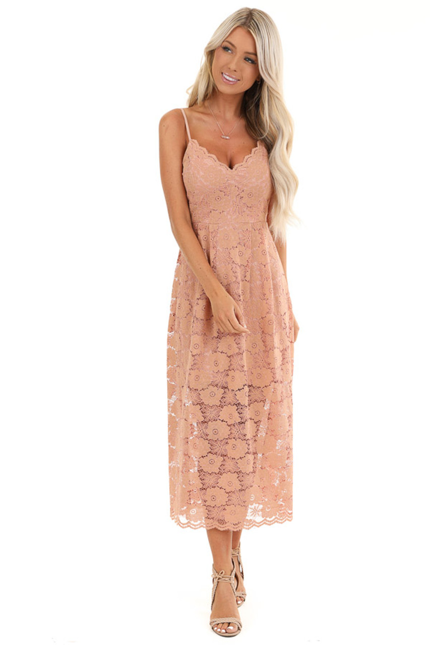 Antique Salmon Floral Lace Midi Dress With Scalloped Trim