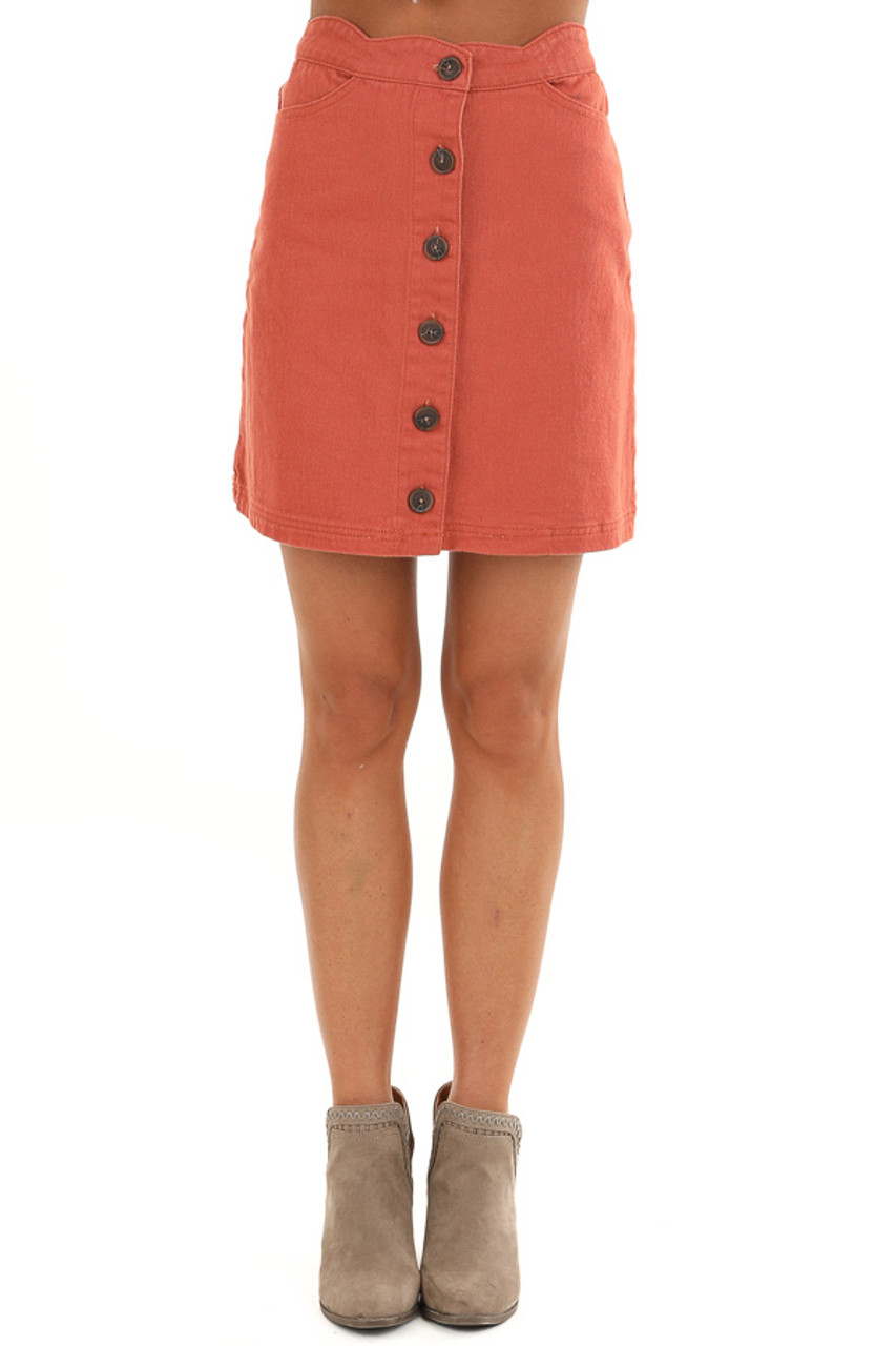 sale online 100% genuine new cheap Sienna Scalloped Denim Button Up Mini Skirt with Pockets