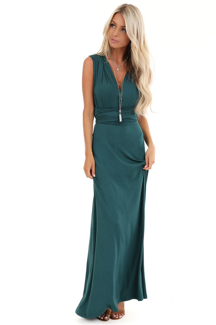 size 7 choose authentic well known Dark Teal V Neck Multi Tie Soft Maxi Dress
