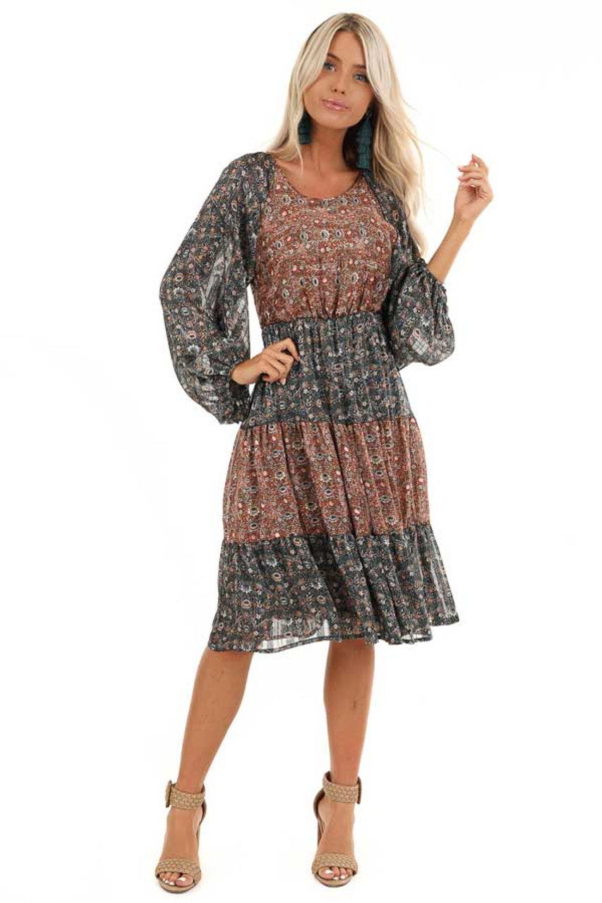 new arrive dirt cheap many styles Teal and Rust Floral Print Color Block Long Sleeve Dress - Lime ...