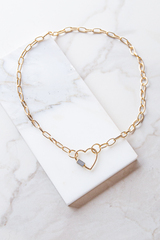 Gold Chain Choker Heart Necklace with Screw Closure