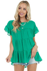 Kelly Green Swiss Dot Short Ruffled Sleeve Tiered Woven Top