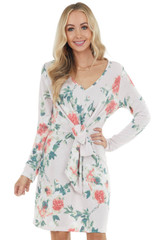 Light Blush Floral Long Sleeve Mini Dress with Front Tie