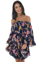 Navy Floral Print Off the Shoulder Ruffled Mini Dress