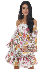 Ivory Floral Print Off the Shoulder Ruffled Mini Dress