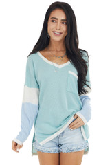 Dusty Sage Colorblock Long Sleeve V Neckline Waffle Knit Top