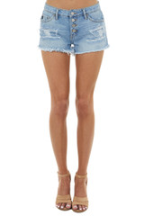 Light Wash Button Up Mid Rise Shorts with Frayed Hem