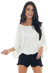 Ivory 3/4 Dolman Sleeve Knit Top with Fringe Details