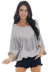 Pewter Grey 3/4 Dolman Sleeve Knit Top with Fringe Details