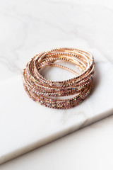 Gold and Pink Multicolor Rhinestone Stretchy Bracelet Set